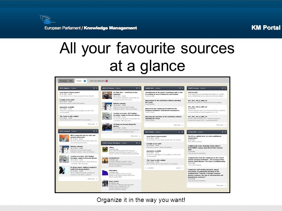 All your favourite sources at a glance Organize it in the way you want! KM Portal