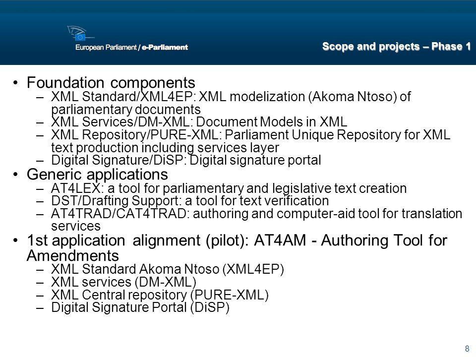 8 Foundation components –XML Standard/XML4EP: XML modelization (Akoma Ntoso) of parliamentary documents –XML Services/DM-XML: Document Models in XML –