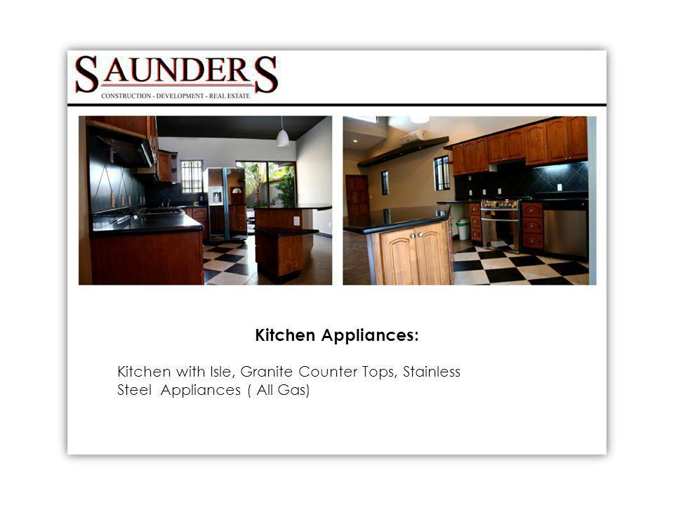 Kitchen Appliances: Kitchen with Isle, Granite Counter Tops, Stainless Steel Appliances ( All Gas)