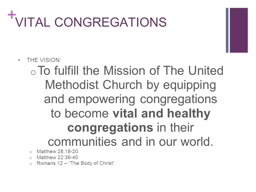 UMCvitalcongregations.org Website resource designed to equip and empower leaders as they foster, sustain and nurture vital congregations in our denomination.