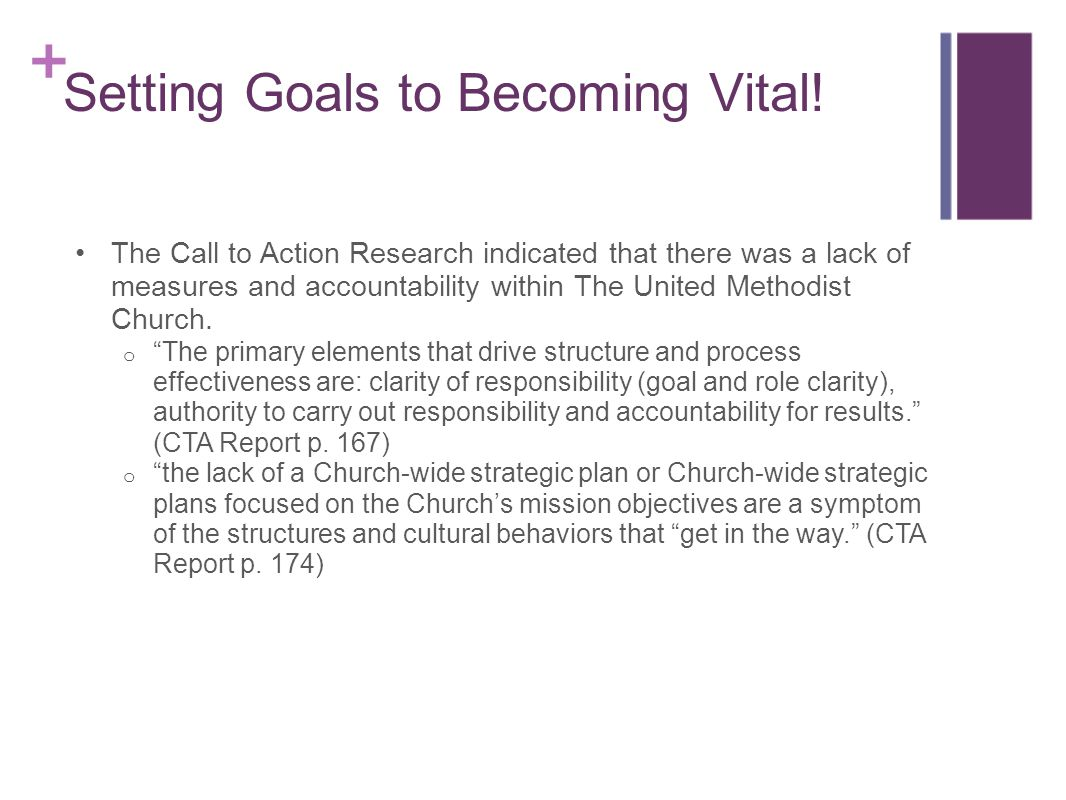 Setting Goals to Becoming Vital! The Call to Action Research indicated that there was a lack of measures and accountability within The United Methodis