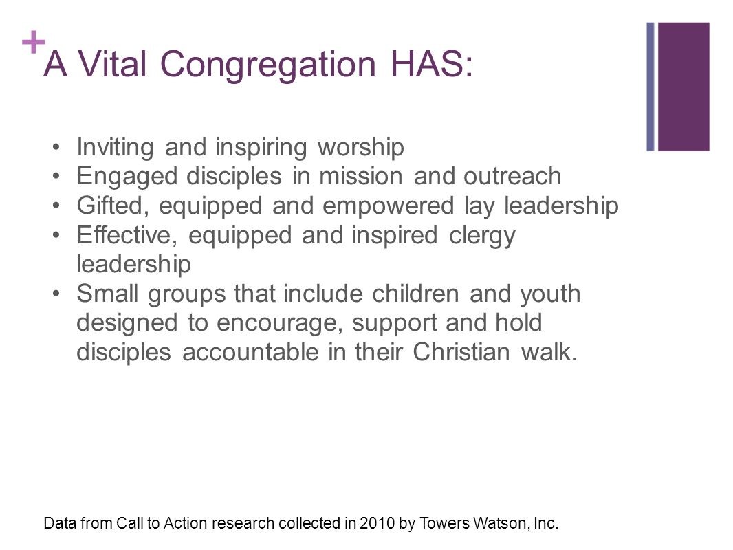 A Vital Congregation HAS: Inviting and inspiring worship Engaged disciples in mission and outreach Gifted, equipped and empowered lay leadership Effec