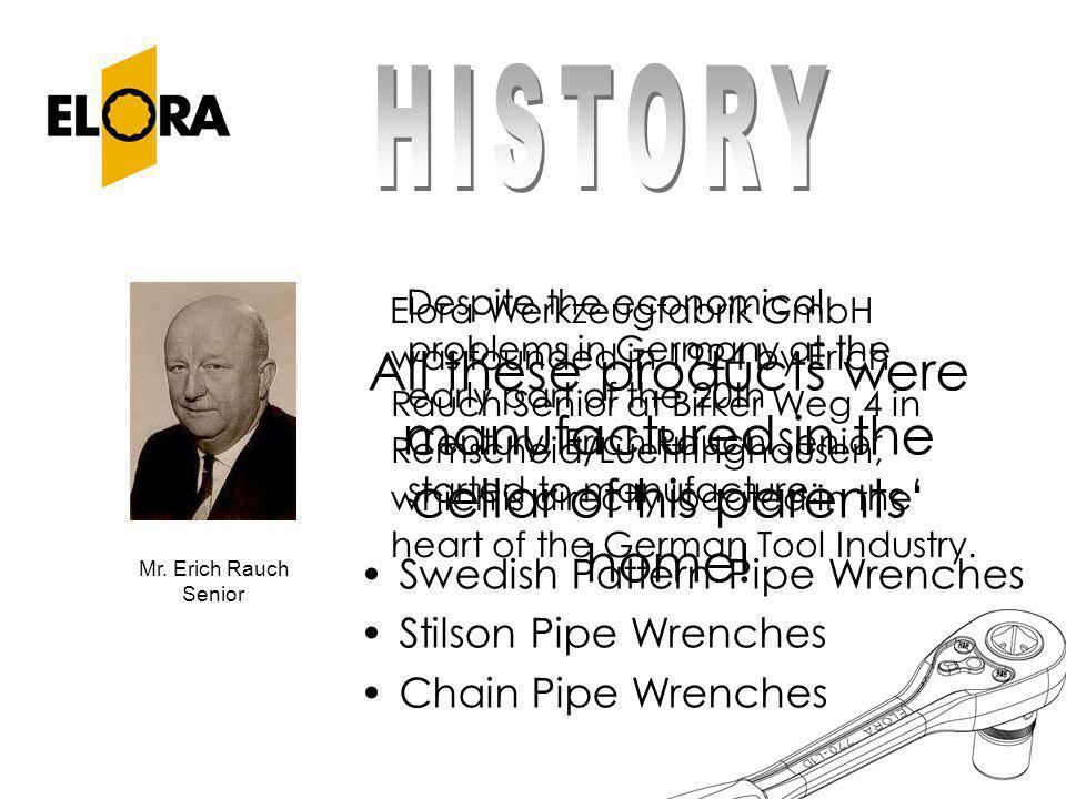 Elora-Werkzeugfabrik GmbH was founded in 1924 by Erich Rauch Senior at Birker Weg 4 in Remscheid/Luettringhausen, which is directly located in the hea