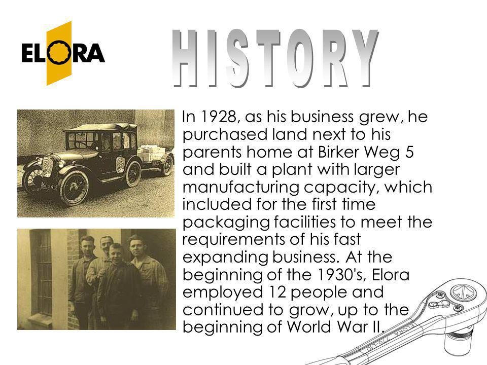 After the war, Erich Rauch only had 11 employees, but to meet the increasing demand for ELORA products and the expansion of his range of products which included plumbing tools, pipe cutters, open ended spanners, made from chrome vanadium steel and tubular box spanners, he again extended his manufacturing facilities.