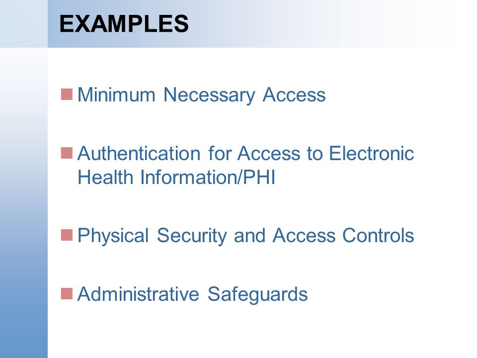 EXAMPLES Minimum Necessary Access Authentication for Access to Electronic Health Information/PHI Physical Security and Access Controls Administrative