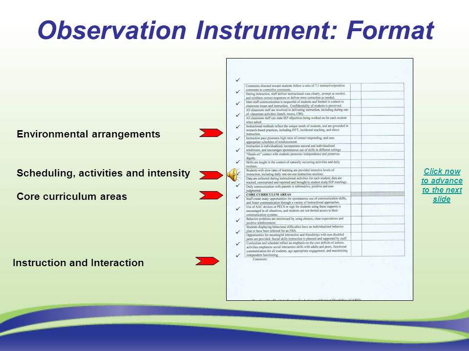 Observation Instrument: Format Environmental arrangements Scheduling, activities and intensity Core curriculum areas Instruction and Interaction Click now to advance to the next slide