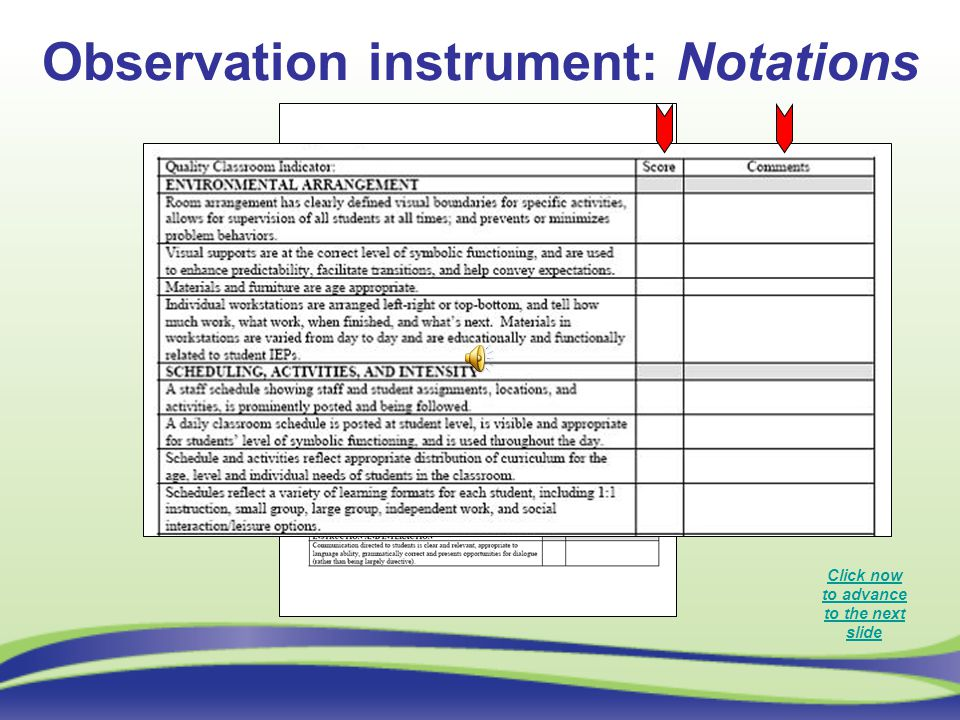 Observation instrument: Notations Click now to advance to the next slide