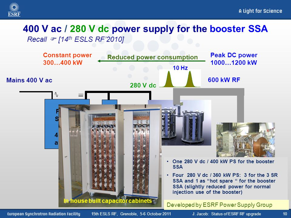 10 400 V ac / 280 V dc power supply for the booster SSA 600 kW RF Mains 400 V ac 280 V dc 400 kW average Power Supply Anti-flicker C 3.2 F 10 Hz 2 boo