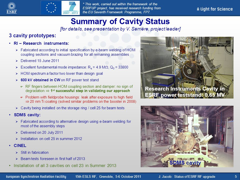 Summary of Cavity Status [for details, see presentation by V. Serrière, project leader] 3 cavity prototypes: RI – Research instruments: Fabricated acc