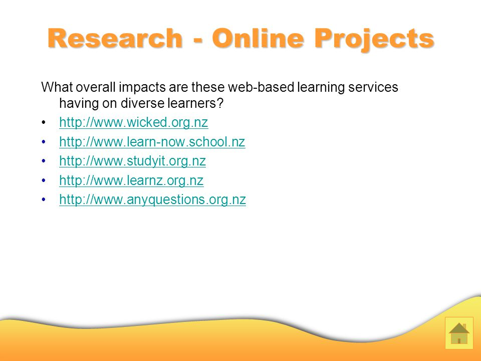 Research - Online Projects What overall impacts are these web-based learning services having on diverse learners.