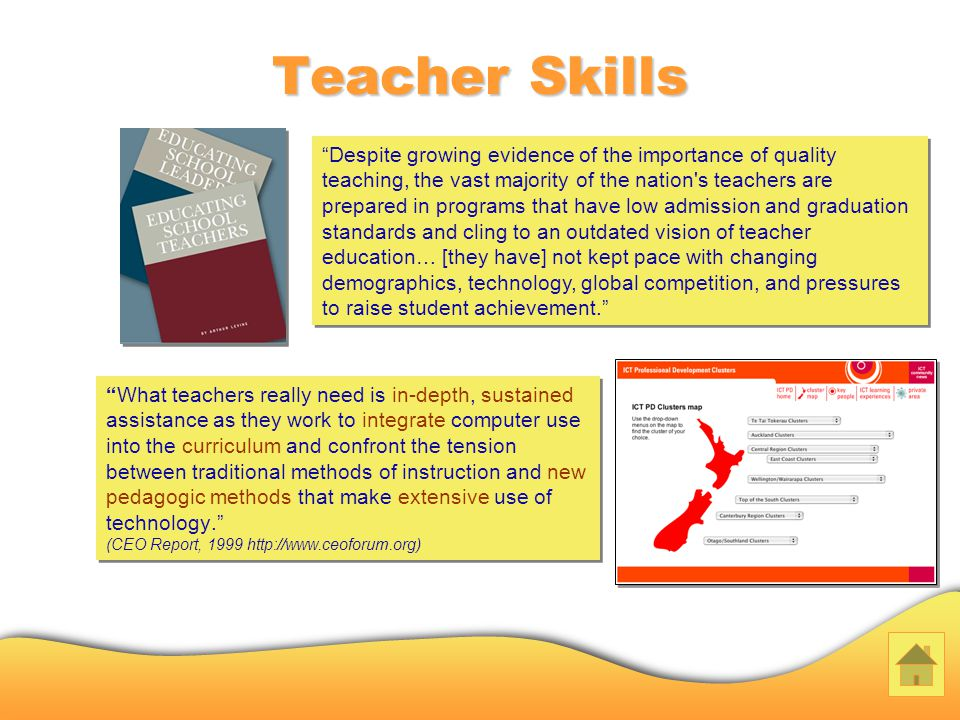Teacher Skills What teachers really need is in-depth, sustained assistance as they work to integrate computer use into the curriculum and confront the tension between traditional methods of instruction and new pedagogic methods that make extensive use of technology.