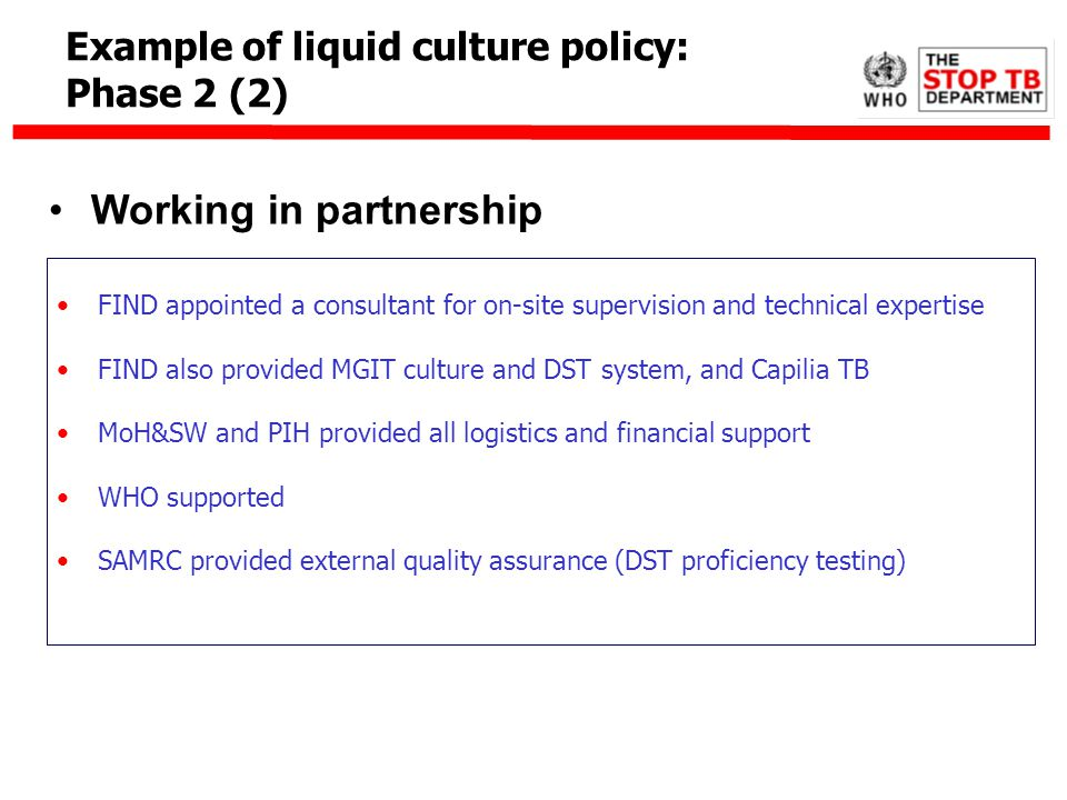Working in partnership FIND appointed a consultant for on-site supervision and technical expertise FIND also provided MGIT culture and DST system, and