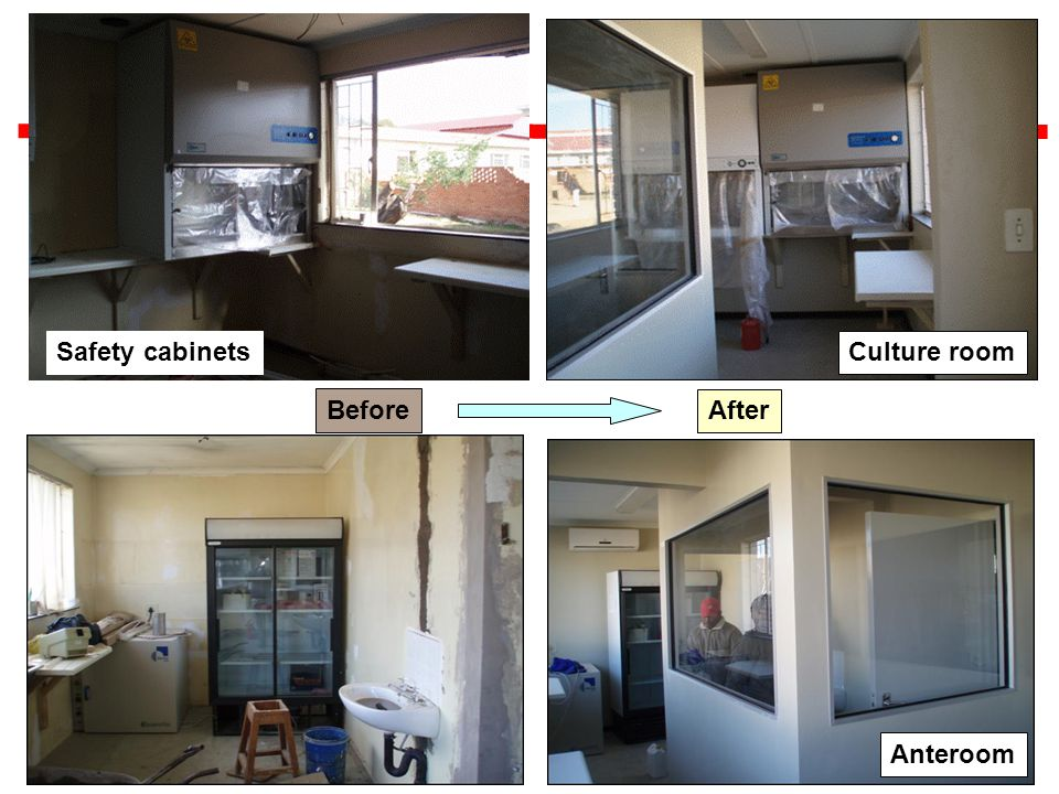 Before After Anteroom Safety cabinetsCulture room
