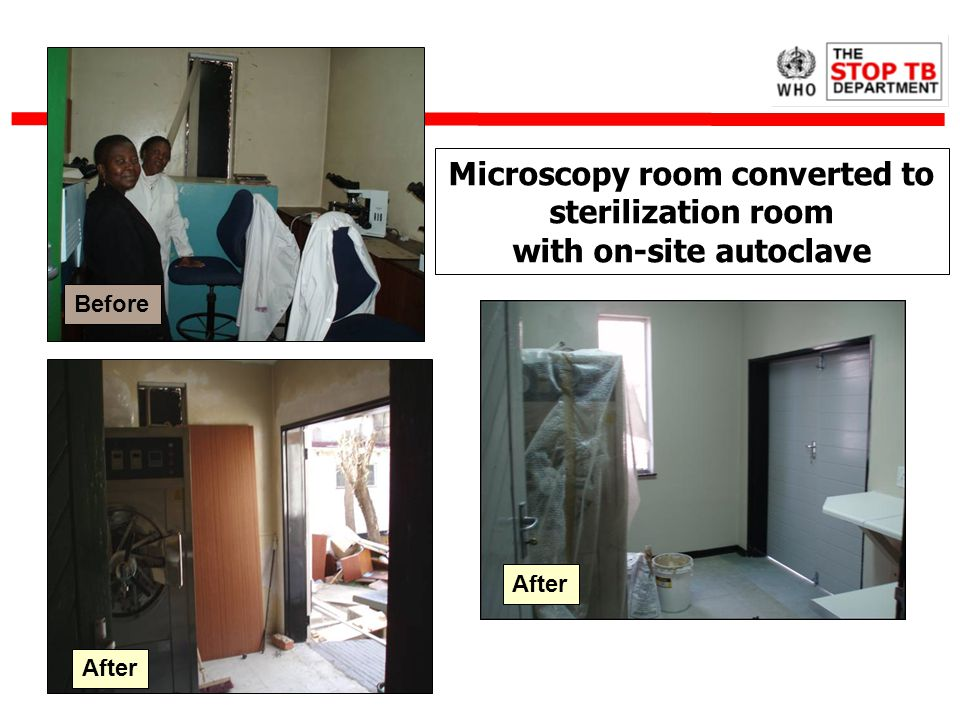 Microscopy room converted to sterilization room with on-site autoclave After Before