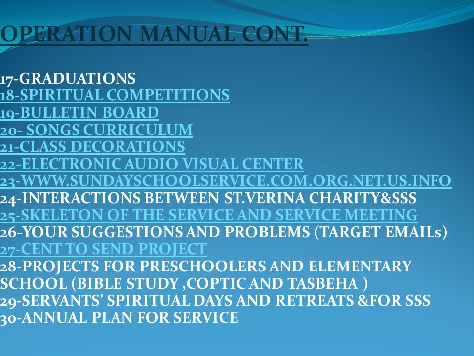 OPERATION MANUAL CONT.