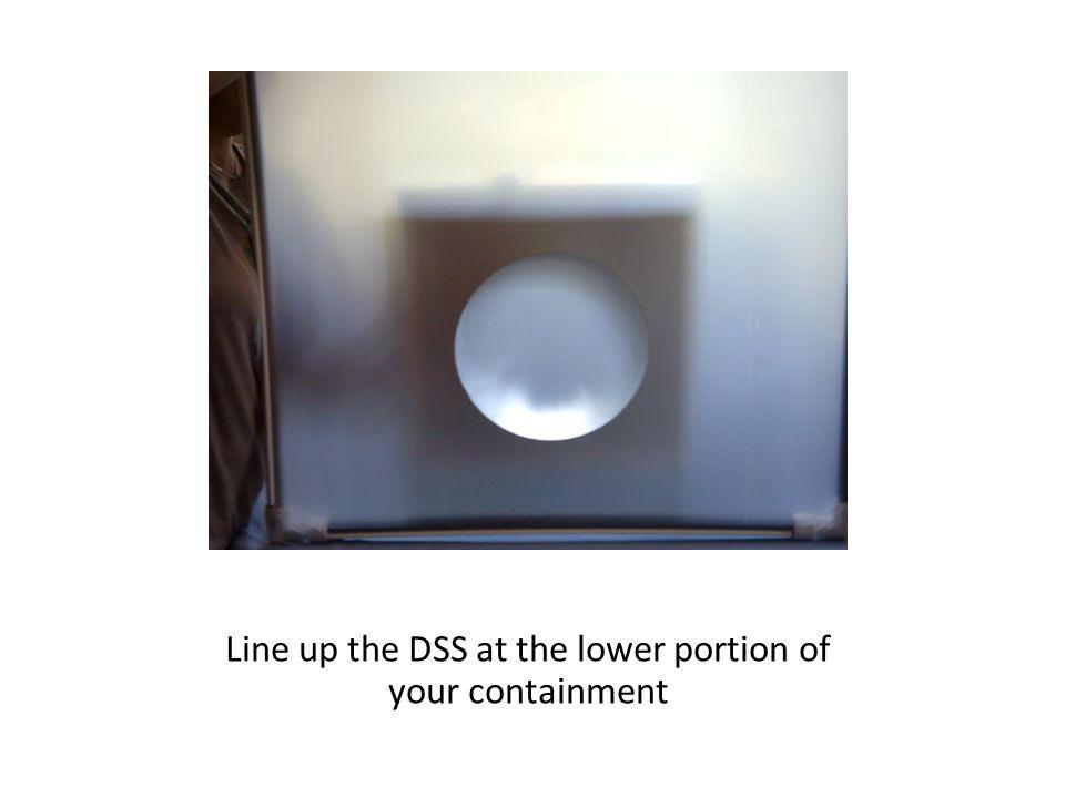 Line up the DSS at the lower portion of your containment