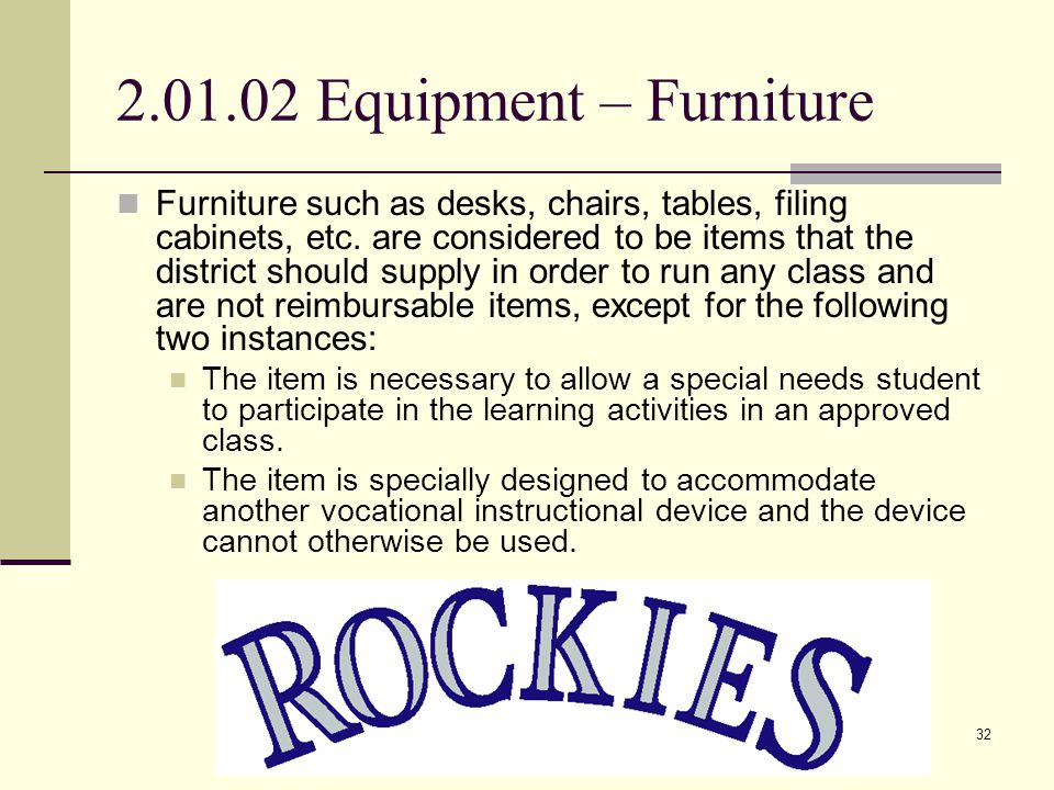 Equipment32 2.01.02 Equipment – Furniture Furniture such as desks, chairs, tables, filing cabinets, etc.