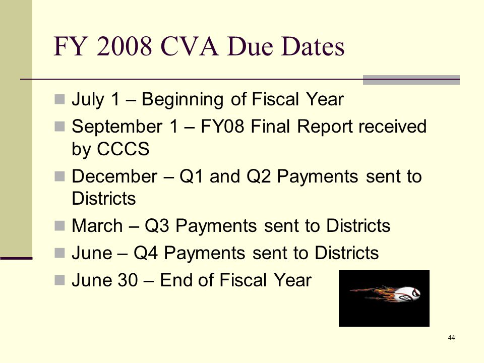 44 FY 2008 CVA Due Dates July 1 – Beginning of Fiscal Year September 1 – FY08 Final Report received by CCCS December – Q1 and Q2 Payments sent to Districts March – Q3 Payments sent to Districts June – Q4 Payments sent to Districts June 30 – End of Fiscal Year