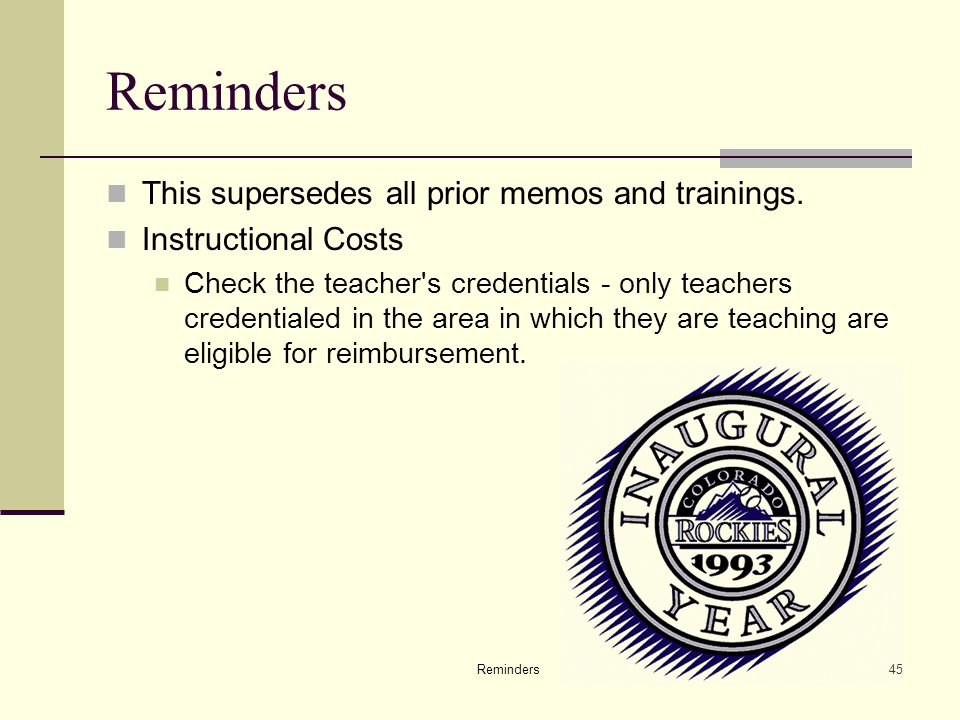 Reminders45 Reminders This supersedes all prior memos and trainings.