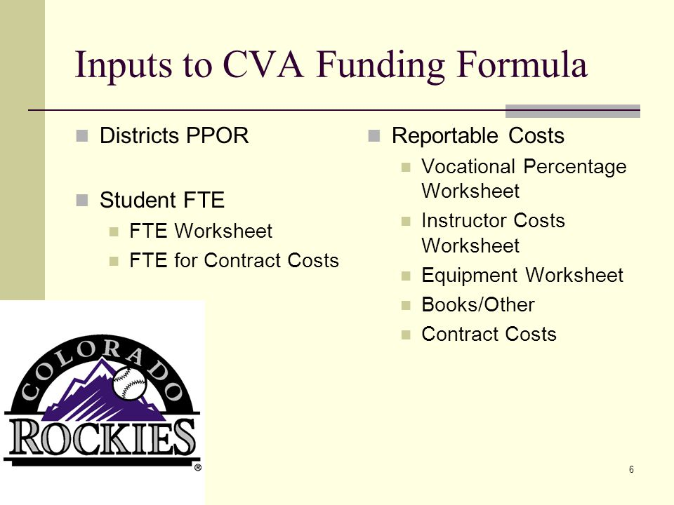 6 Inputs to CVA Funding Formula Districts PPOR Student FTE FTE Worksheet FTE for Contract Costs Reportable Costs Vocational Percentage Worksheet Instructor Costs Worksheet Equipment Worksheet Books/Other Contract Costs