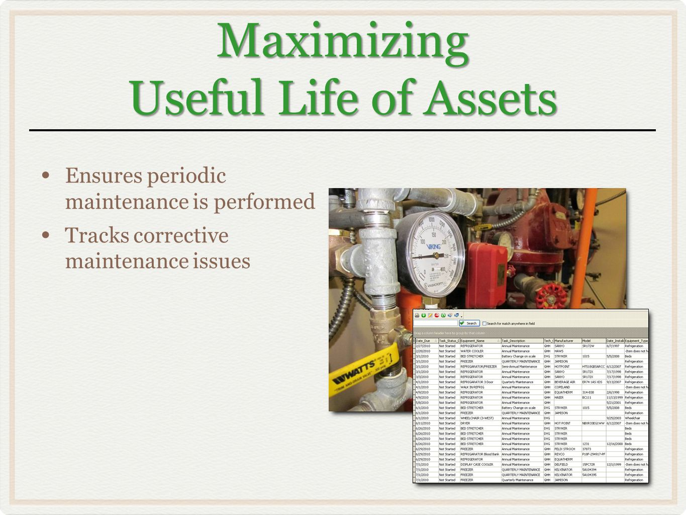 Maximizing Useful Life of Assets Ensures periodic maintenance is performed Tracks corrective maintenance issues