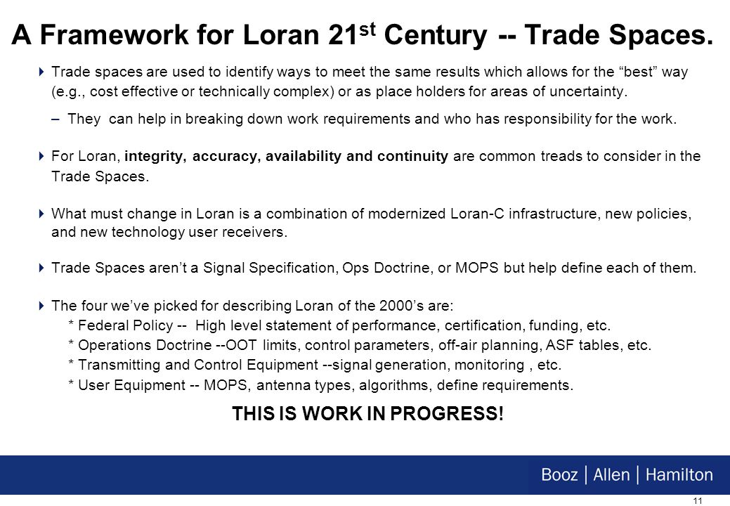 11 A Framework for Loran 21 st Century -- Trade Spaces.
