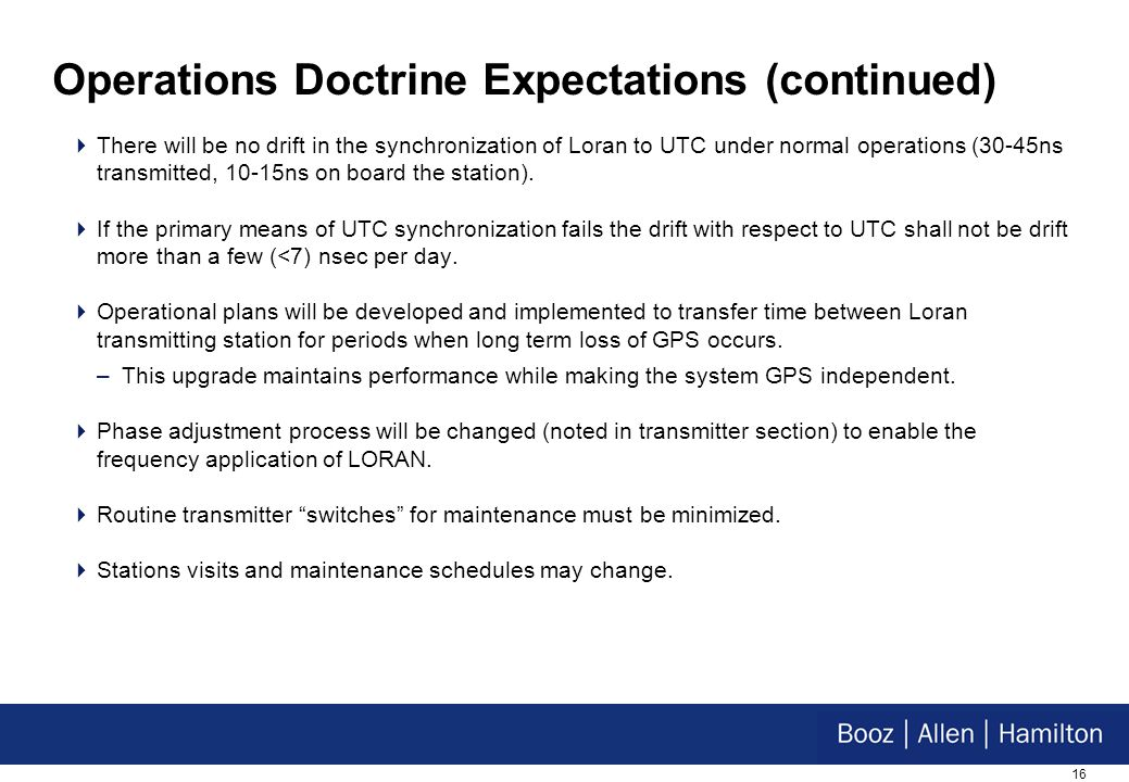 16 Operations Doctrine Expectations (continued) There will be no drift in the synchronization of Loran to UTC under normal operations (30-45ns transmitted, 10-15ns on board the station).