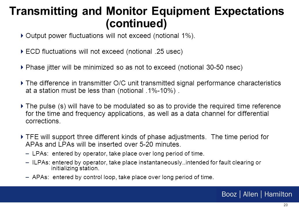 20 Transmitting and Monitor Equipment Expectations (continued) Output power fluctuations will not exceed (notional 1%).