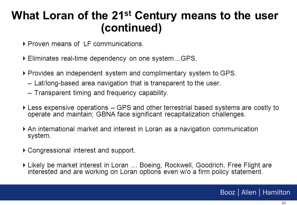 24 What Loran of the 21 st Century means to the user (continued) Proven means of LF communications.