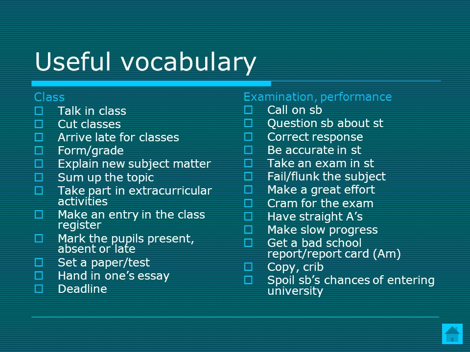 Useful vocabulary Class Talk in class Cut classes Arrive late for classes Form/grade Explain new subject matter Sum up the topic Take part in extracurricular activities Make an entry in the class register Mark the pupils present, absent or late Set a paper/test Hand in ones essay Deadline Examination, performance Call on sb Question sb about st Correct response Be accurate in st Take an exam in st Fail/flunk the subject Make a great effort Cram for the exam Have straight As Make slow progress Get a bad school report/report card (Am) Copy, crib Spoil sbs chances of entering university