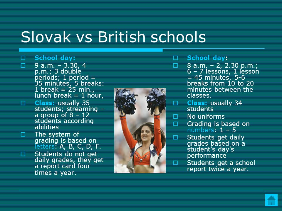Slovak vs British schools School day: 9 a.m.