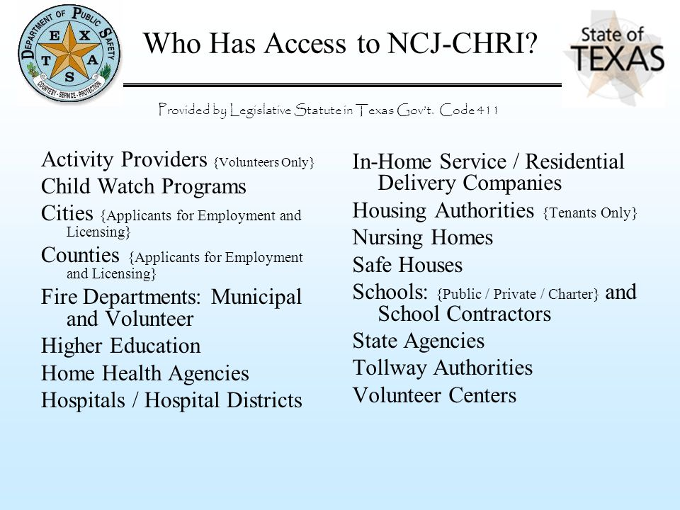 Who Has Access to NCJ-CHRI? Activity Providers {Volunteers Only} Child Watch Programs Cities {Applicants for Employment and Licensing} Counties {Appli