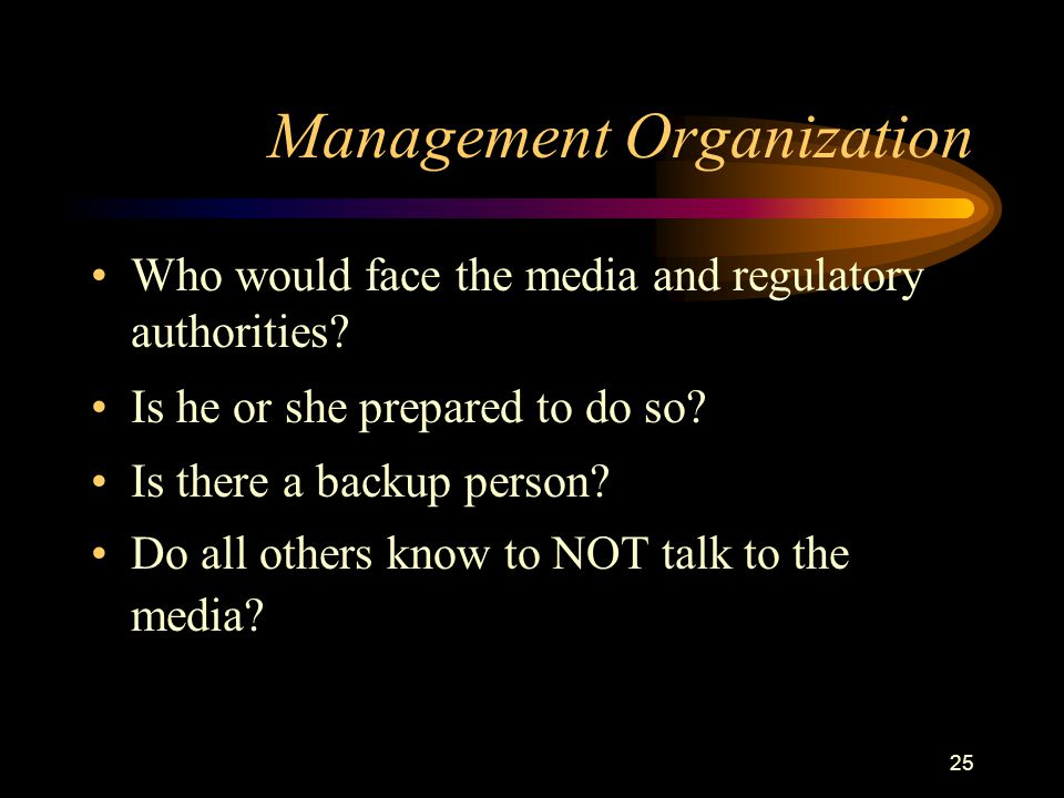 25 Management Organization Who would face the media and regulatory authorities.