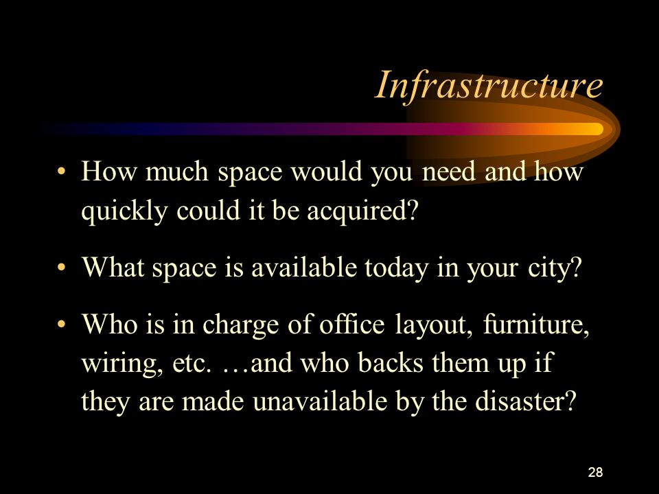 28 Infrastructure How much space would you need and how quickly could it be acquired.