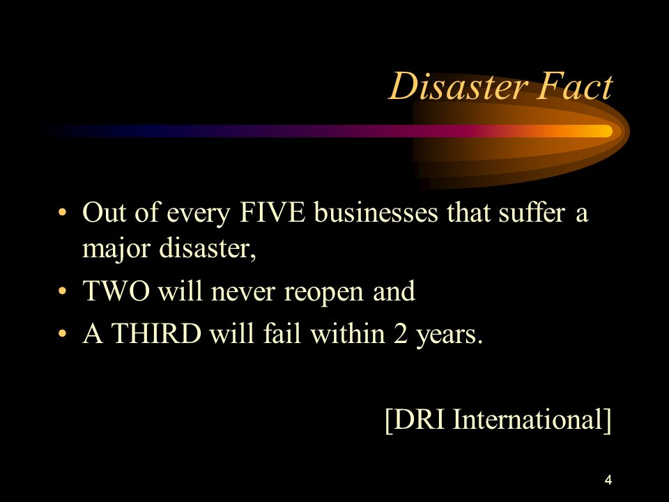 4 Disaster Fact Out of every FIVE businesses that suffer a major disaster, TWO will never reopen and A THIRD will fail within 2 years.