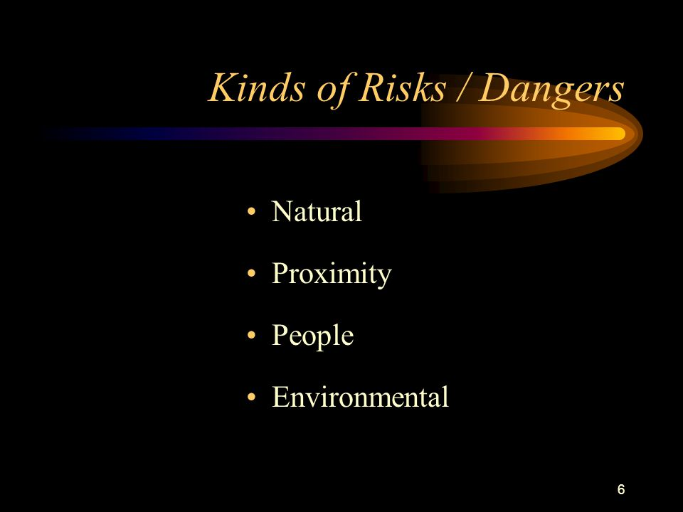 6 Kinds of Risks / Dangers Natural Proximity People Environmental
