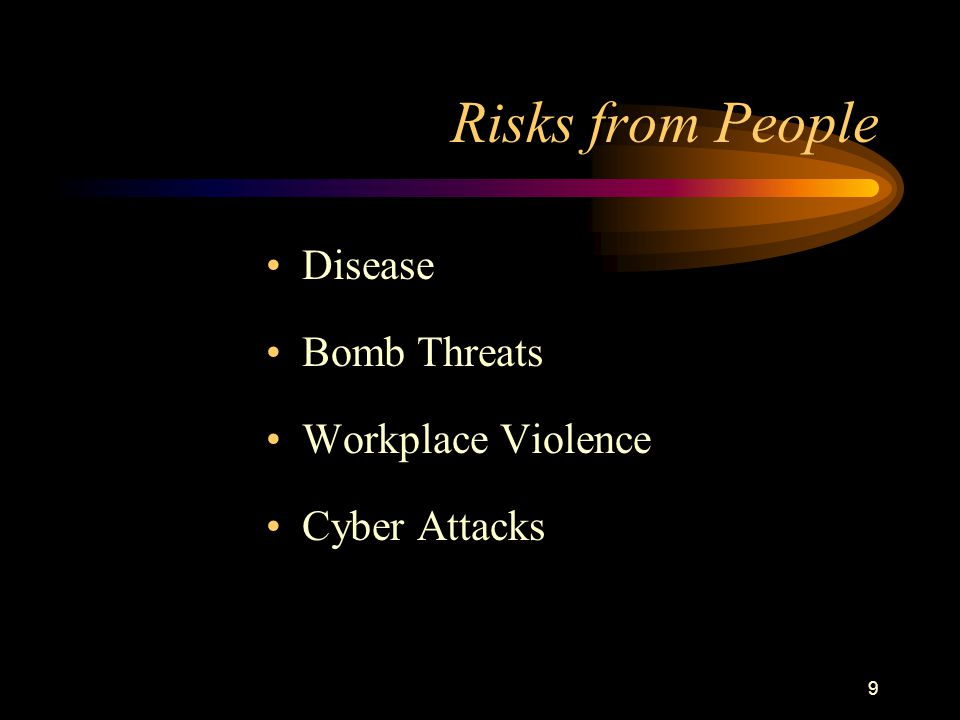9 Risks from People Disease Bomb Threats Workplace Violence Cyber Attacks