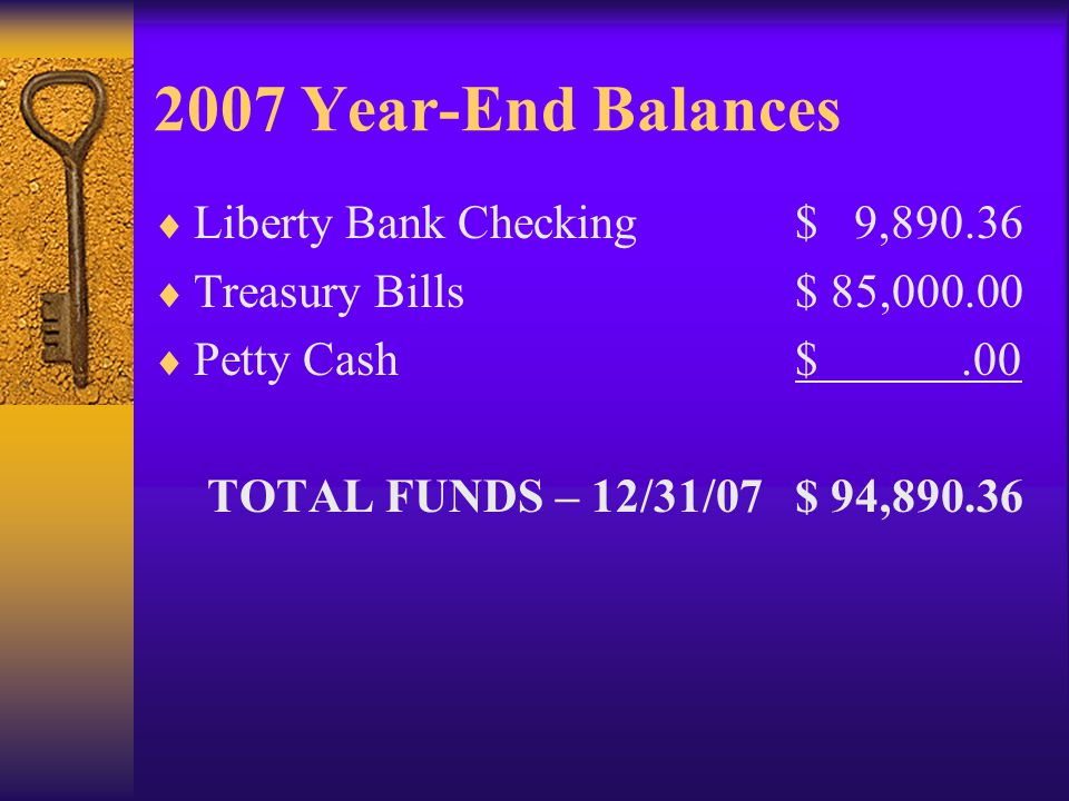 2007 Year-End Balances Liberty Bank Checking$ 9,890.36 Treasury Bills$ 85,000.00 Petty Cash$.00 TOTAL FUNDS – 12/31/07$ 94,890.36