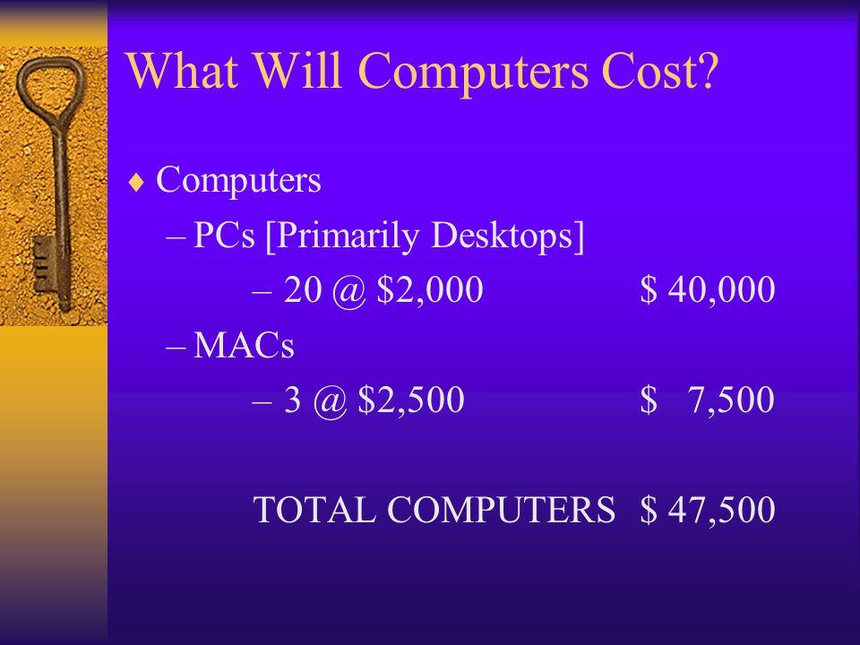 What Will Computers Cost? Computers –PCs [Primarily Desktops] – 20 @ $2,000$ 40,000 –MACs – 3 @ $2,500$ 7,500 TOTAL COMPUTERS$ 47,500