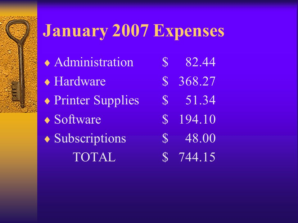 January 2007 Expenses Administration$ 82.44 Hardware$ 368.27 Printer Supplies$ 51.34 Software$ 194.10 Subscriptions$ 48.00 TOTAL$ 744.15
