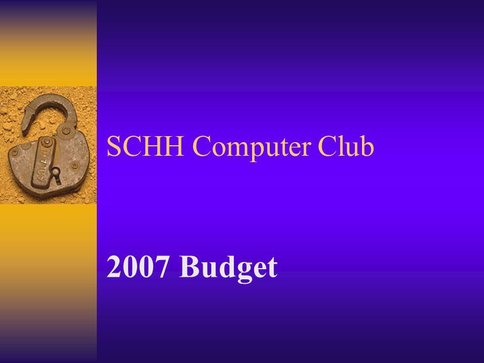 SCHH Computer Club 2007 Budget