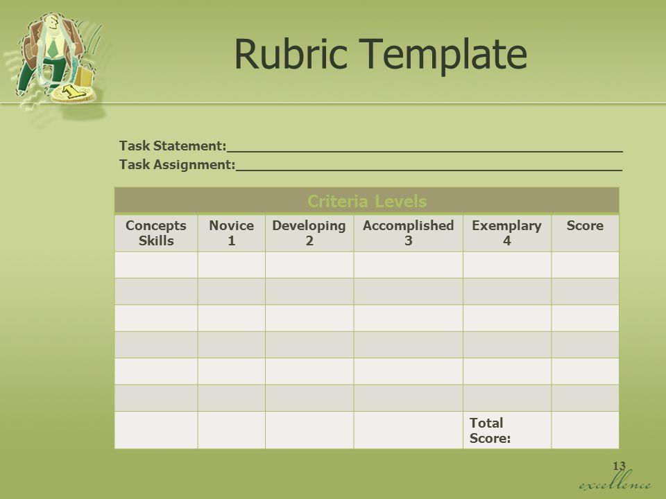 13 Rubric Template Task Statement:________________________________________________ Task Assignment:_______________________________________________ Cri