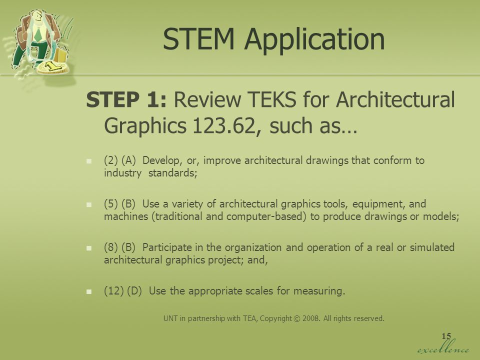 15 STEM Application STEP 1: Review TEKS for Architectural Graphics 123.62, such as… (2) (A) Develop, or, improve architectural drawings that conform t