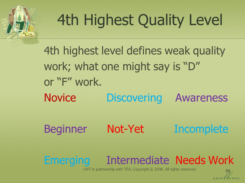 30 4th Highest Quality Level 4th highest level defines weak quality work; what one might say is D or F work. Novice Discovering Awareness Beginner Not