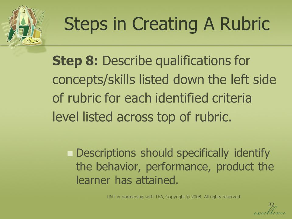 32 Steps in Creating A Rubric Step 8: Describe qualifications for concepts/skills listed down the left side of rubric for each identified criteria lev