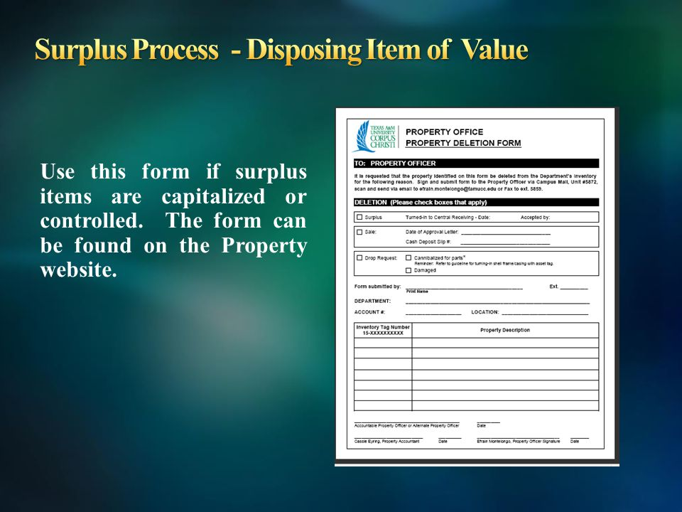 Use this form if surplus items are capitalized or controlled.