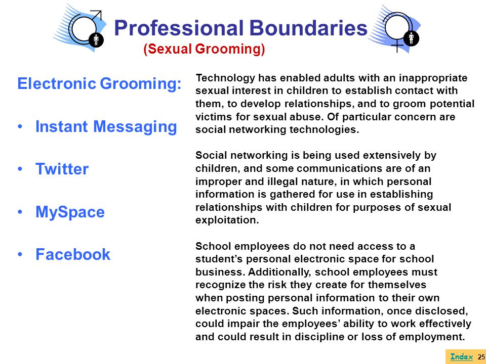 Electronic Grooming: Instant Messaging Twitter MySpace Facebook Index 25 Professional Boundaries (Sexual Grooming) Technology has enabled adults with