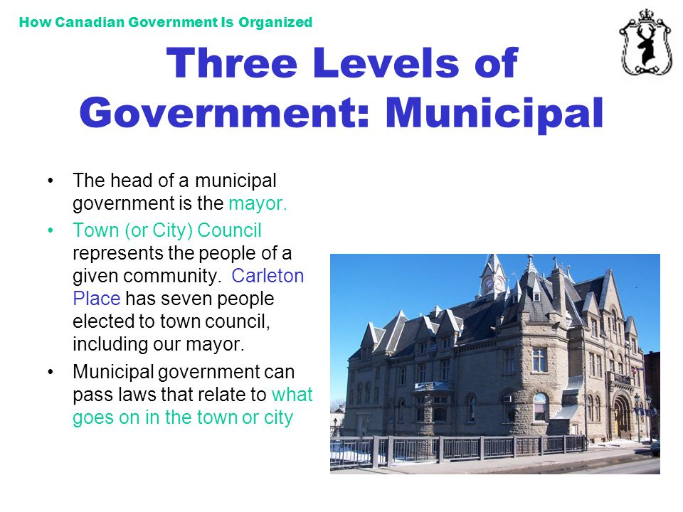 How Canadian Government Is Organized Three Levels of Government: Municipal The head of a municipal government is the mayor. Town (or City) Council rep