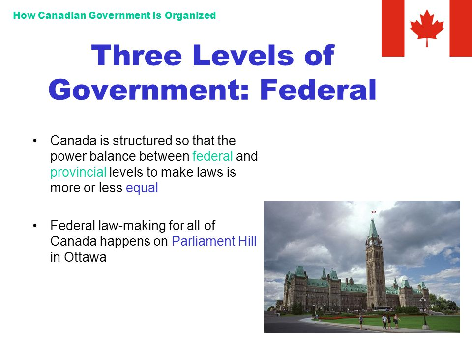 How Canadian Government Is Organized Three Levels of Government: Federal Canada is structured so that the power balance between federal and provincial