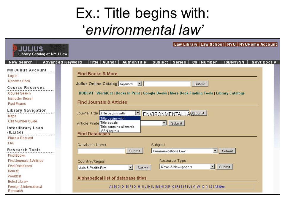 Ex.: Title begins with:environmental law ENVIRONMENTAL LAW
